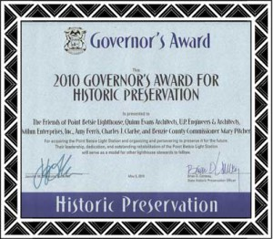 2010 Governors Award for Historic Preservation on the Point Betsie Light Station