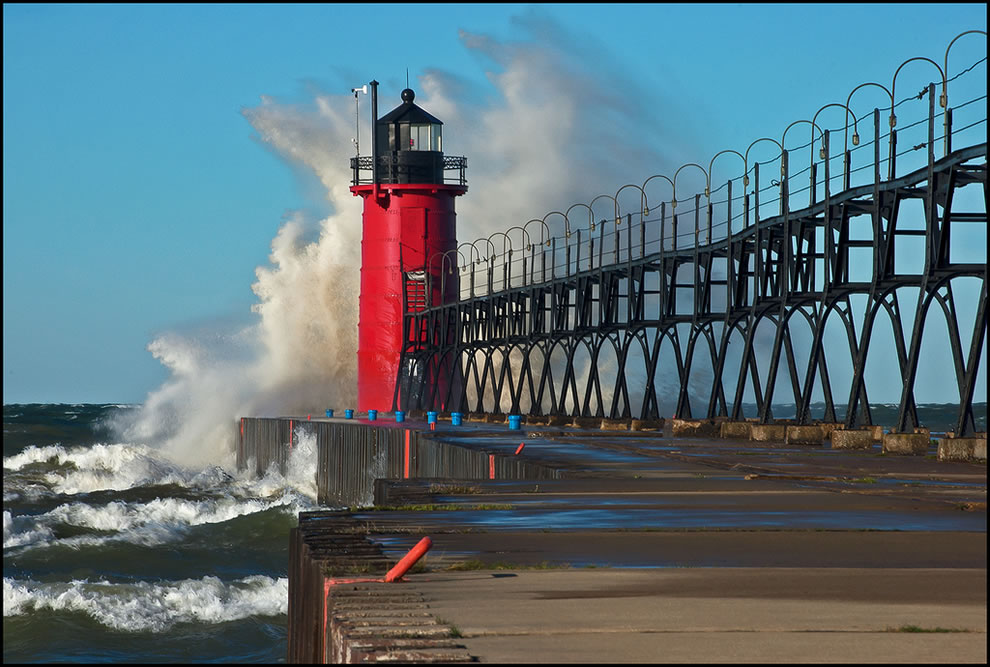 South Haven Michigan Lighthouse Exterior Restored By Mihm Enterprises